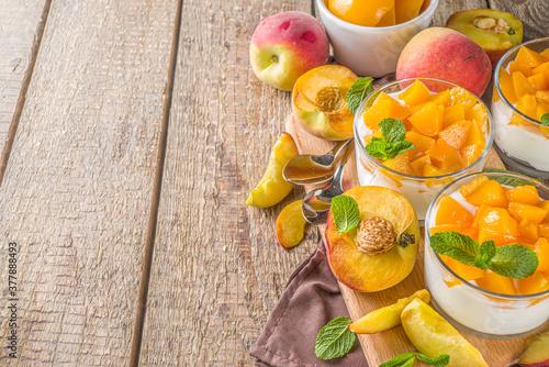 Curd or yogurt dessert with peaches