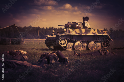 Foto Army tank in attack. War concept