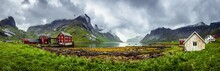 Panorama Of Traditional Houses Of The Village Of Kirkefjord During A Rainy Day On The Lofoten Islands, Norway