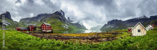 Fototapeta Panorama of traditional houses of the village of Kirkefjord during a rainy day on the Lofoten islands, Norway obraz