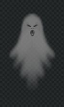 Realistic Spooky Ghost. Isolated Vector. Halloween Ghost Scary, Horror Shadow Poltergeist, Illustration Spooky Evil