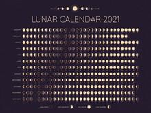 Moon Calendar 2021. Lunar Phas...