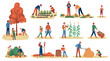 Autumn gathering. Men, women and children collecting fruits, vegetables and berries. Stacking hay, working harvest season vector set. Illustration collecting harvest autumn, agriculture harvesting