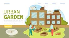 Urban Garden Landing Web Template, Vector Illustration. Rooftop Garden, Plants On Urban Building. Gardening In City, Horticulture. Gardener Growing Organic Vegetables And Greenery Crop.
