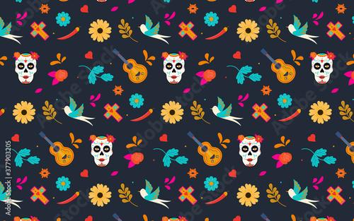 Papel de parede Dia de los Muertos pattern