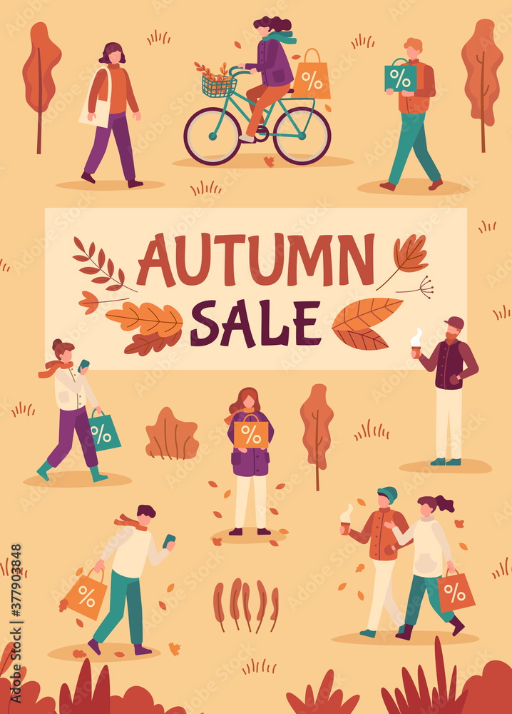 Fototapeta Autumn sale. People with umbrellas and shopping bags in city, fall season special offers, promotion price discount flyer, flat vector banner. Autumn shopping advertising, cheerful people illustration