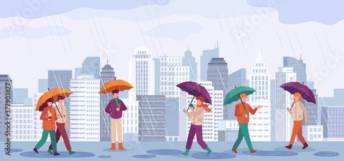 People autumn rain. Men and women walk or standing in rain with umbrellas in city landscapes, rainy day fall season vector concept. City autumn rain, people hold umbrella illustration