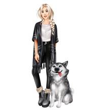 Beautiful Girl With Husky Dog....
