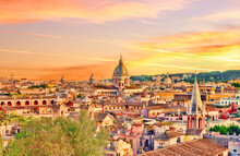 Rome Skyline At Sunset. Rome, ...