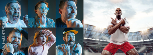 Foto Emotional friends or fans watching football, soccer match on TV, look excited