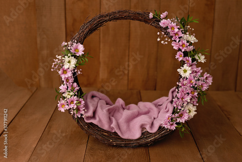 Leinwand Poster Newborn Digital Background Spring rose Basket Prop for Newborn.