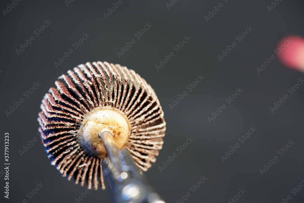 Fototapeta Closeup shot of a flap wheel for metal finishing