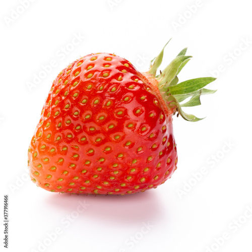Fototapeta Fresh strawberries closeup on a white background