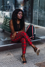 African Girl Waiting At The Bu...