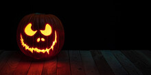 Carved Halloween Pumpkin With ...