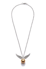 Subject Shot Of Silver Necklace With Pendant Made As Golden Snitch With Silver Wings. Symbolic Necklace With Lobster Clasp Is Isolated On The White Background.