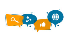 Vector Illustration Of Speech Balloons Intersecting Each Other. Symbolizes Interactions On Social Media, Discussing A Viral Issue, Discussing Topics, And Concept Of Interacting With The Internet.