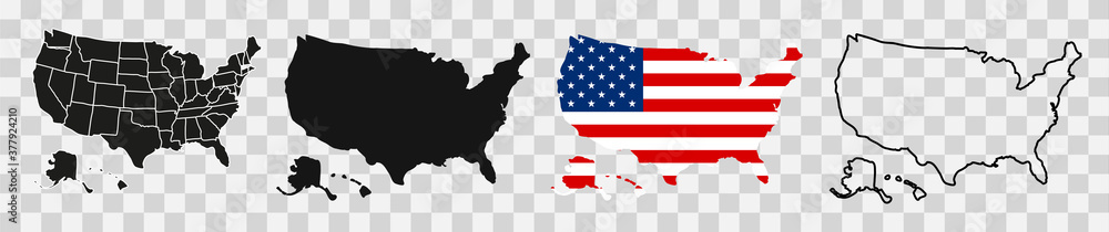 Fototapeta USA map with states. Vector illustration