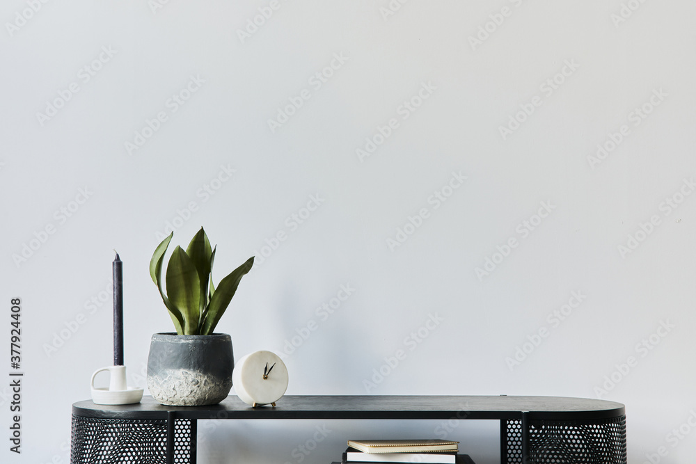 Stylish scandinavian home interior with design wooden commode, books, decorations, copy space and elegant personal accessories in modern home decor. Template.