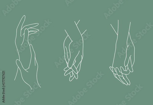 Set of holding outline hands couples with interlocked fingers Canvas