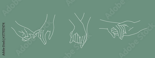 Set of holding outline hands couples with interlocked fingers Fotobehang