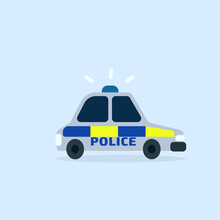 Police UK Car Cartoon Icon. Clipart Image Isolated On White Background.