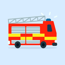 Fire Engine UK Cartoon Icon. Clipart Image Isolated On White Background.