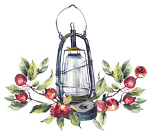Old Lantern With Chinese Apple...