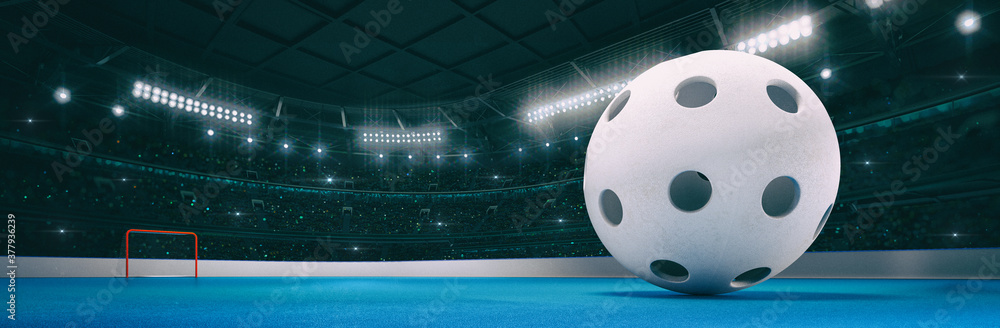 Fototapeta Sport indoor arena with white floorball ball on the blue floor as widescreen background. Digital 3D illustration of sport building interior.