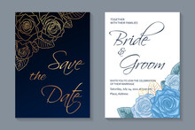 Modern Floral Luxury Wedding Invitation Design Or Card Templates For Birthday Greeting Or Certificate Or Poster With Golden And Blue Roses On White And Navy Background.