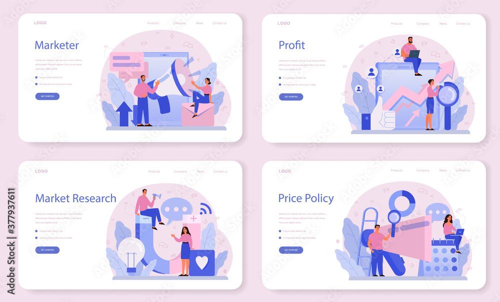Fototapeta Marketer web banner or landing page set. Advertising and marketing concept