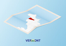 Folded Paper Map Of Vermont With Neighboring Countries In Isometric Style.