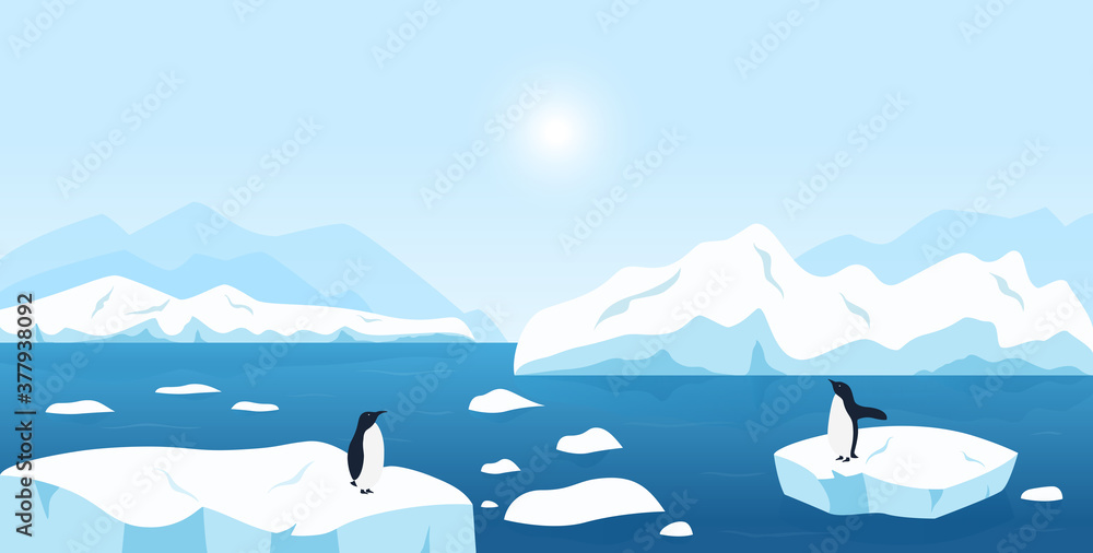 Fototapeta Beautiful Arctic or Antarctic landscape. North scenery with large icebergs floating in ocean and penguins. Snow mountains hills, scenic northern icy nature background