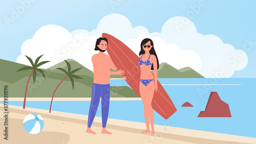 People on beach summer holidays vector illustration Canvas Print