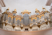 Organfront In Cathedral With Dome In Helsinki Finand