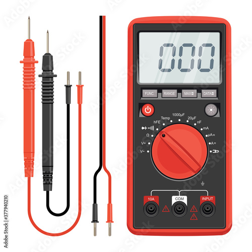 Fototapeta Multimeter electrical or electronics in red silicone shell, with probes. Electrician power tools. Multimeter and socket. obraz