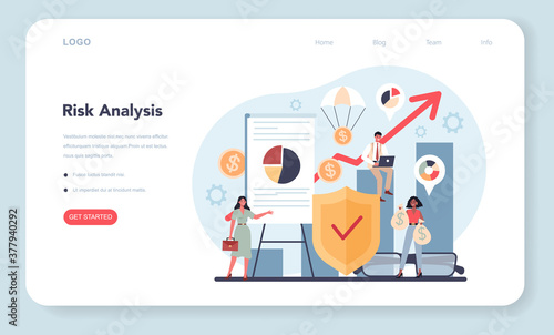 Obraz Financial analyst or consultant web banner or landing page. Risk - fototapety do salonu