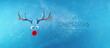 Leinwandbild Motiv Reindeer toy with cold red nose frozen in ice Christmas background concept 3D Rendering