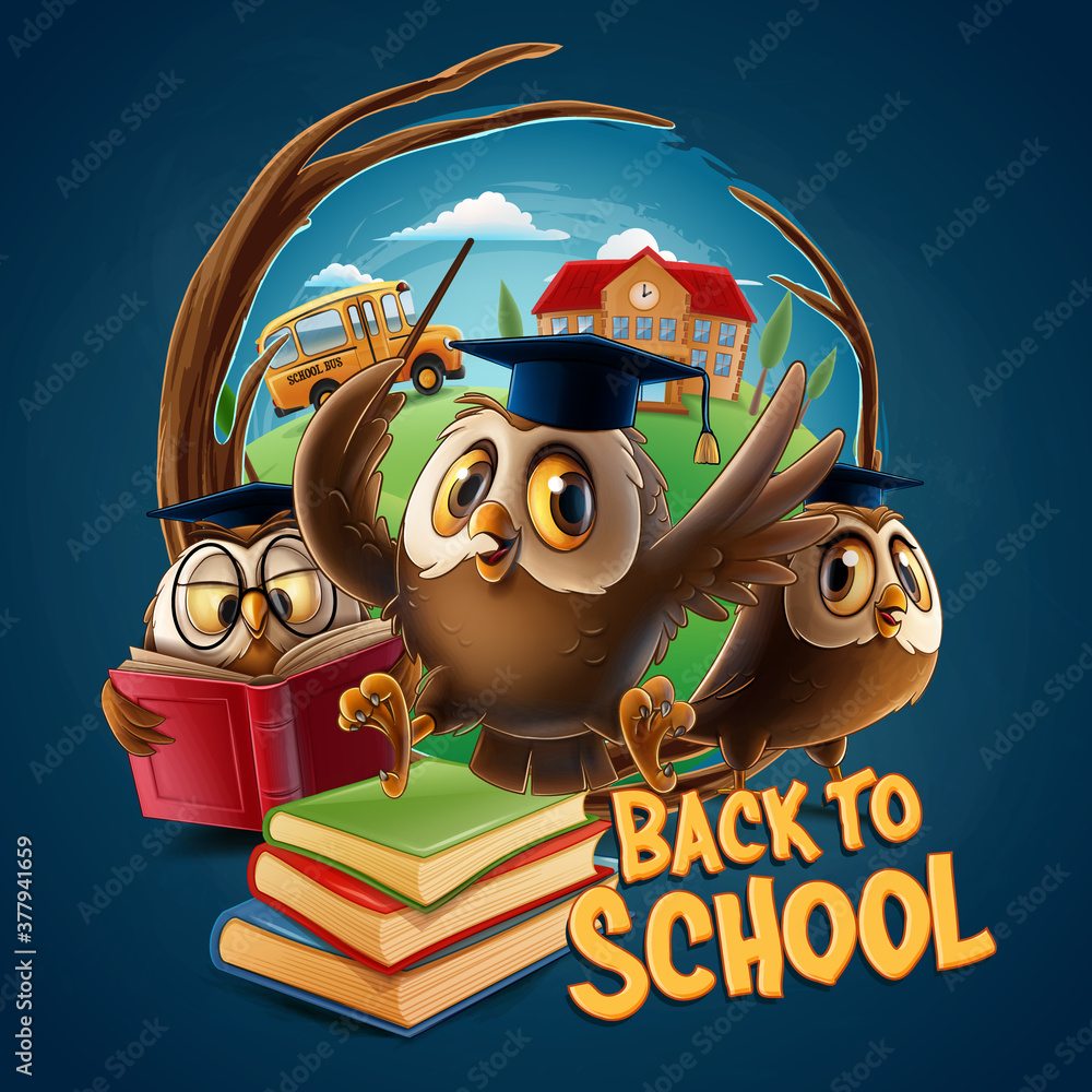 Fototapeta owls with graduation hat for back to school