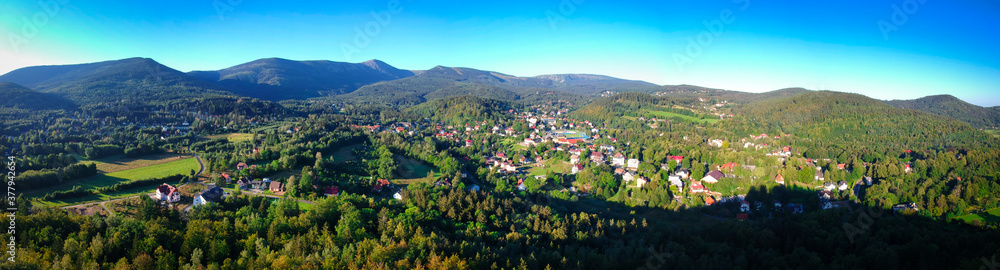 Aerial view of Karpacz city and the Karkonosze Mountains at summer, Poland