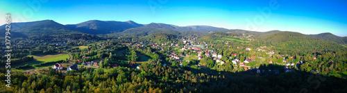 Fototapeta Aerial view of Karpacz city and the Karkonosze Mountains at summer, Poland obraz