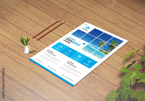 Blue Flyer Layout with Geometric Elements