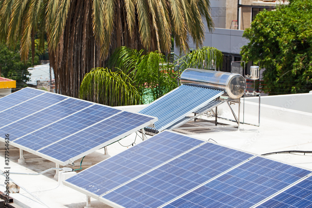Fototapeta Solar panels, Solar water heater