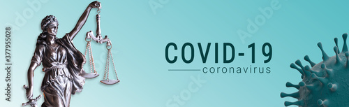 coronavirus covid-19 and Statue of Justice - Banner law concept Canvas