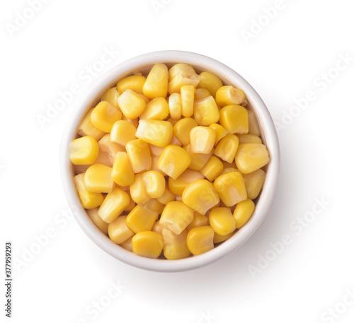 Sweet canned corn in ceramic bowl Wallpaper Mural