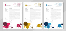 Set Of Creative & Modern Business Style Print Ready Letterhead For Corporate Business. Unique Official Letterhead Template Design With Abstract Shapes. Vector Graphic Design.