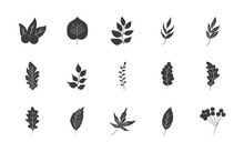 Holy Berry And Autumn Leaves Icon Set, Silhouette Style