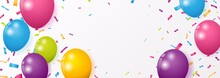 Celebration Banner With Colorful Confetti And Balloons