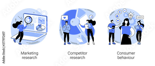 Targeting strategy abstract concept vector illustration set. Marketing research, competitor research, consumer behaviour, focus group, survey agency, target audience, analysis abstract metaphor.