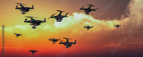 group of drones in the sky Canvas Print